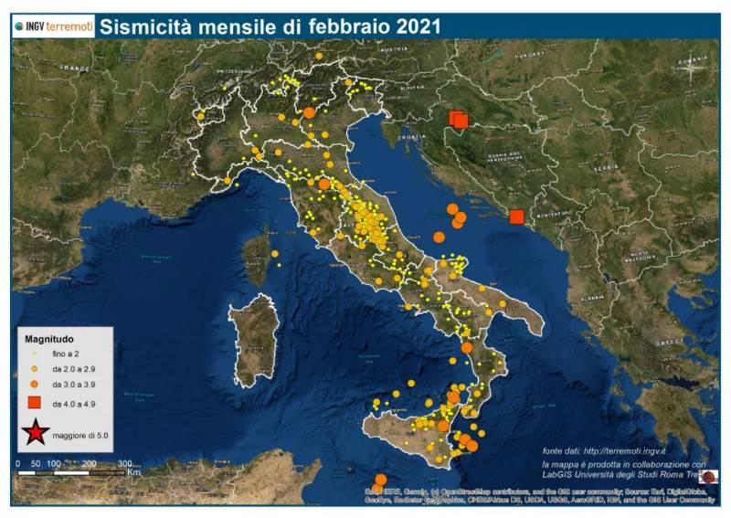 Le mappe mensili della sismicità febbraio 2021